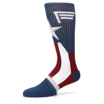 Image of Red White Blue Captain America Men's Casual Socks (side-2-10)