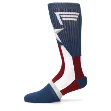 Image of Red White Blue Captain America Men's Casual Socks (side-2-11)