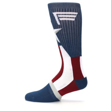 Image of Red White Blue Captain America Men's Casual Socks (side-2-12)