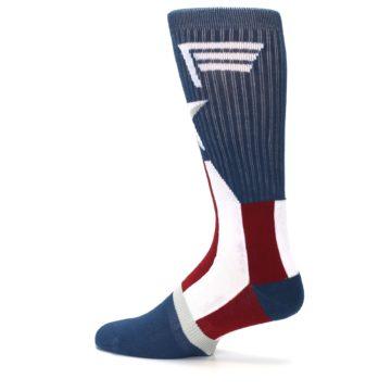Image of Red White Blue Captain America Men's Casual Socks (side-2-13)