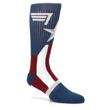 Image of Red White Blue Captain America Men's Casual Socks (side-1-26)