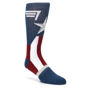 Image of Red White Blue Captain America Men's Casual Socks (side-1-27)