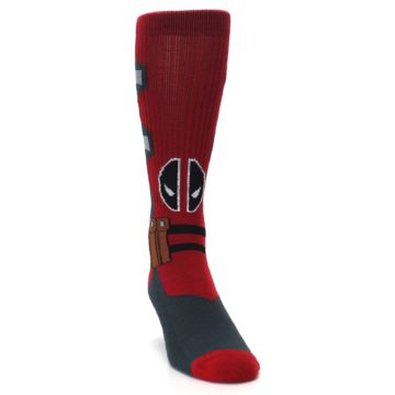 Image of Red Grey Deadpool Men's Casual Socks (side-1-front-03)