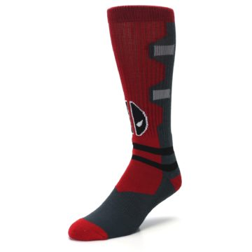 Image of Red Grey Deadpool Men's Casual Socks (side-2-front-08)