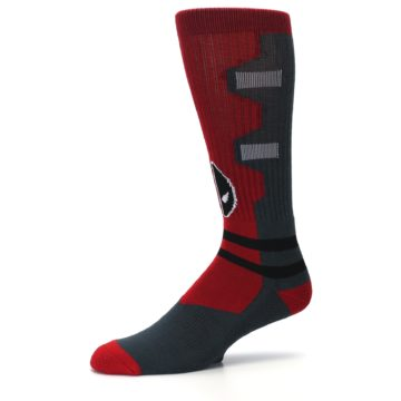 Image of Red Grey Deadpool Men's Casual Socks (side-2-10)