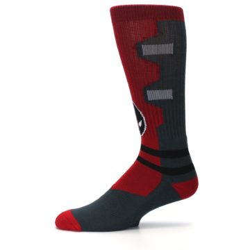 Image of Red Grey Deadpool Men's Casual Socks (side-2-11)