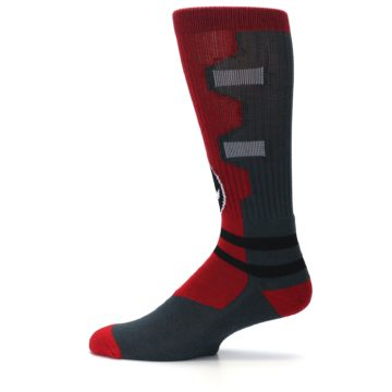 Image of Red Grey Deadpool Men's Casual Socks (side-2-12)