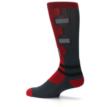 Image of Red Grey Deadpool Men's Casual Socks (side-2-13)