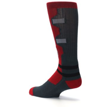 Image of Red Grey Deadpool Men's Casual Socks (side-2-back-14)