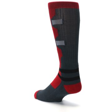 Image of Red Grey Deadpool Men's Casual Socks (side-2-back-15)
