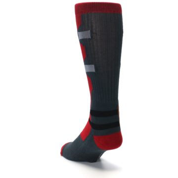 Image of Red Grey Deadpool Men's Casual Socks (side-2-back-16)