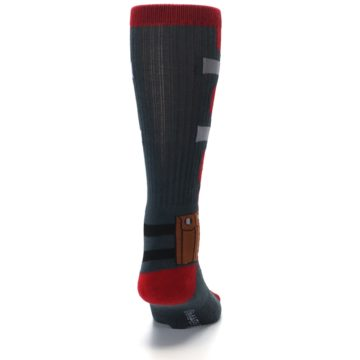 Image of Red Grey Deadpool Men's Casual Socks (back-19)