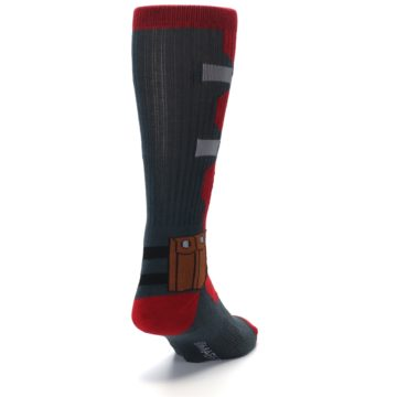 Image of Red Grey Deadpool Men's Casual Socks (side-1-back-20)