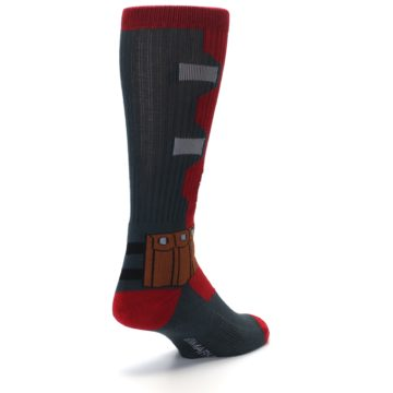 Image of Red Grey Deadpool Men's Casual Socks (side-1-back-21)