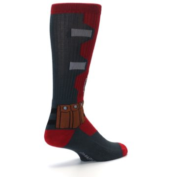 Image of Red Grey Deadpool Men's Casual Socks (side-1-back-22)