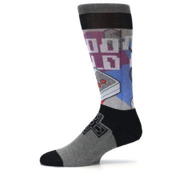 Image of Grey Multi Nintendo Game Controller Men's Casual Socks (side-2-11)