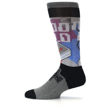 Image of Grey Multi Nintendo Game Controller Men's Casual Socks (side-2-12)