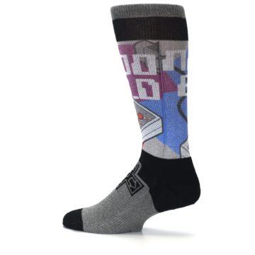Image of Grey Multi Nintendo Game Controller Men's Casual Socks (side-2-13)