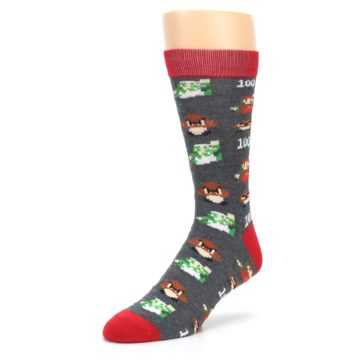 Image of Grey Super Mario Game Men's Casual Socks (side-2-front-08)