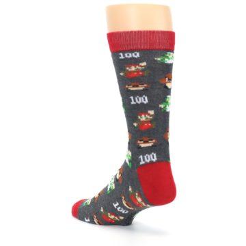 Image of Grey Super Mario Game Men's Casual Socks (side-2-back-15)
