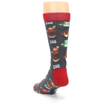 Image of Grey Super Mario Game Men's Casual Socks (side-2-back-16)