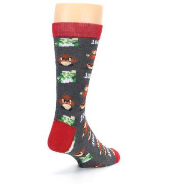 Image of Grey Super Mario Game Men's Casual Socks (side-1-back-21)