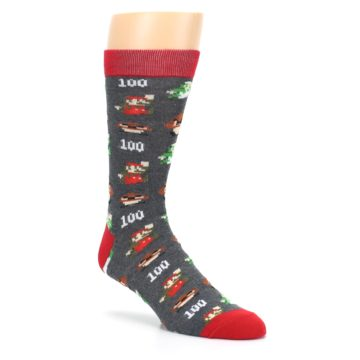 Image of Grey Super Mario Game Men's Casual Socks (side-1-27)