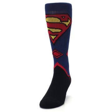 Image of Blue Black Superman Suit Up Men's Casual Socks (side-2-front-06)