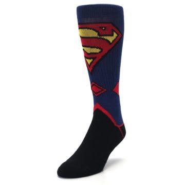 Image of Blue Black Superman Suit Up Men's Casual Socks (side-2-front-07)