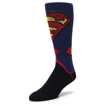 Image of Blue Black Superman Suit Up Men's Casual Socks (side-2-front-08)