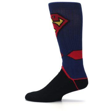 Image of Blue Black Superman Suit Up Men's Casual Socks (side-2-12)
