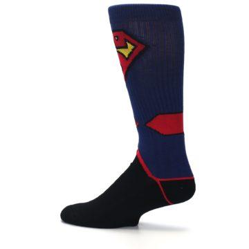 Image of Blue Black Superman Suit Up Men's Casual Socks (side-2-13)