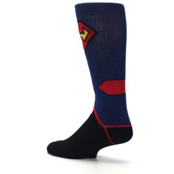 Image of Blue Black Superman Suit Up Men's Casual Socks (side-2-back-14)