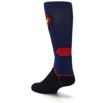 Image of Blue Black Superman Suit Up Men's Casual Socks (side-2-back-15)