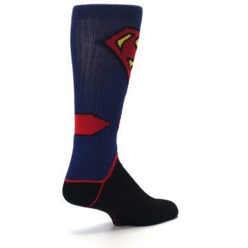 Image of Blue Black Superman Suit Up Men's Casual Socks (side-1-back-22)