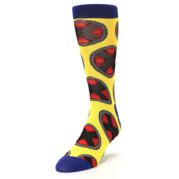Image of Yellow Red Blue X-Men AOP Men's Casual Socks (side-2-front-07)