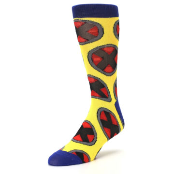 Image of Yellow Red Blue X-Men AOP Men's Casual Socks (side-2-front-08)