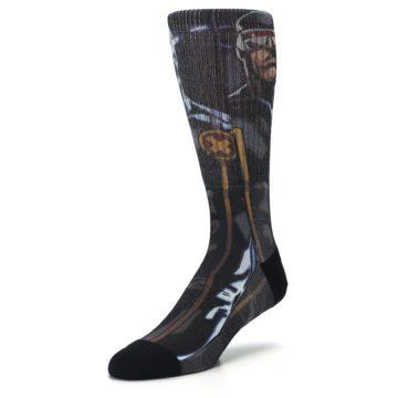 Image of Black Blue X-Men Cyclops SuperHero Men's Casual Socks (side-2-front-08)