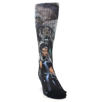 Image of Black Grey X-Men Storm Sublimated Men's Casual Socks (side-1-front-03)