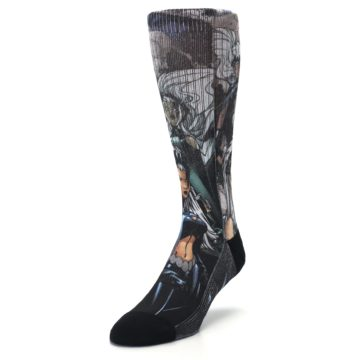 Image of Black Grey X-Men Storm Sublimated Men's Casual Socks (side-2-front-07)