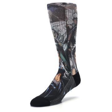 Image of Black Grey X-Men Storm Sublimated Men's Casual Socks (side-2-front-08)
