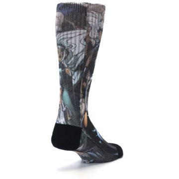 Image of Black Grey X-Men Storm Sublimated Men's Casual Socks (side-1-back-21)