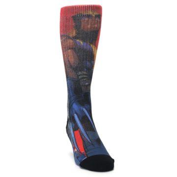 Image of Blue Red X-Men Wolverine Men's Casual Socks (side-1-front-03)
