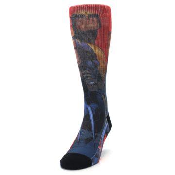 Image of Blue Red X-Men Wolverine Men's Casual Socks (side-2-front-06)