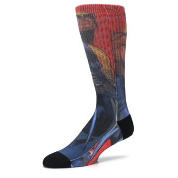 Image of Blue Red X-Men Wolverine Men's Casual Socks (side-2-09)