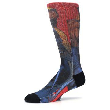 Image of Blue Red X-Men Wolverine Men's Casual Socks (side-2-10)