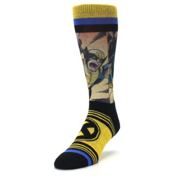 Image of Yellow Black X-Men Wolverine Sublimated Men's Casual Socks (side-2-front-07)
