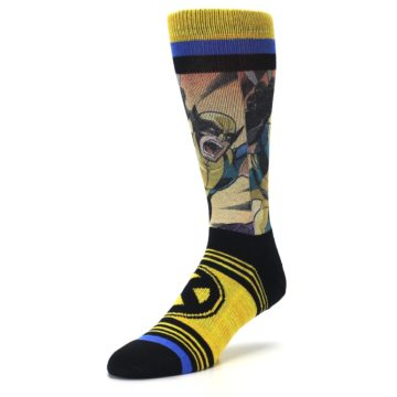Image of Yellow Black X-Men Wolverine Sublimated Men's Casual Socks (side-2-front-08)