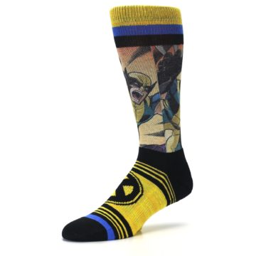 Image of Yellow Black X-Men Wolverine Sublimated Men's Casual Socks (side-2-09)