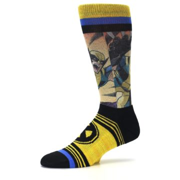 Image of Yellow Black X-Men Wolverine Sublimated Men's Casual Socks (side-2-10)